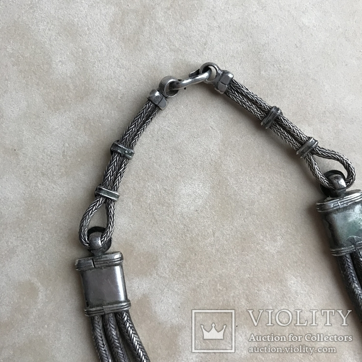 Старинное серебреное колье 135 грамм в этно стиле, фото №9
