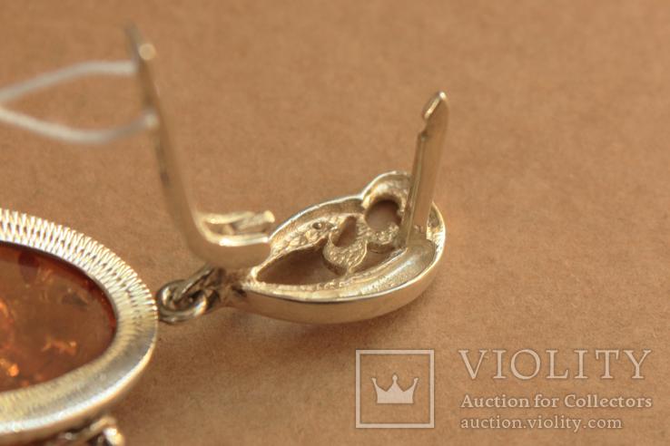 Серьги серебро, золото, янтарь, фото №7
