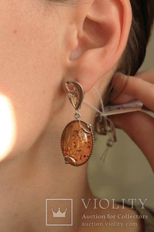 Серьги серебро, золото, янтарь, фото №10