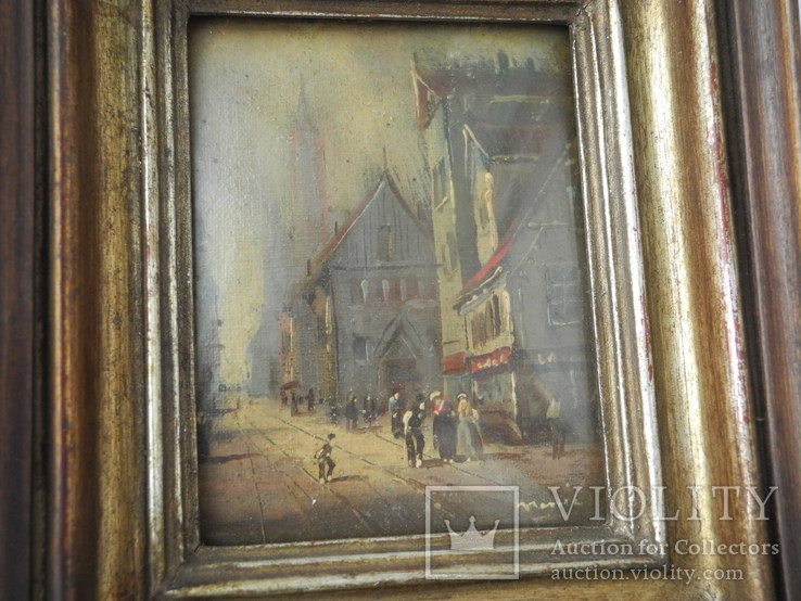 Старинная рисованная миниатюра ( Масло , Холст ) Европа, фото №5