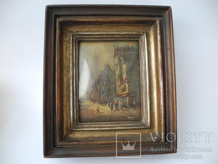 Старинная рисованная миниатюра ( Масло , Холст ) Европа