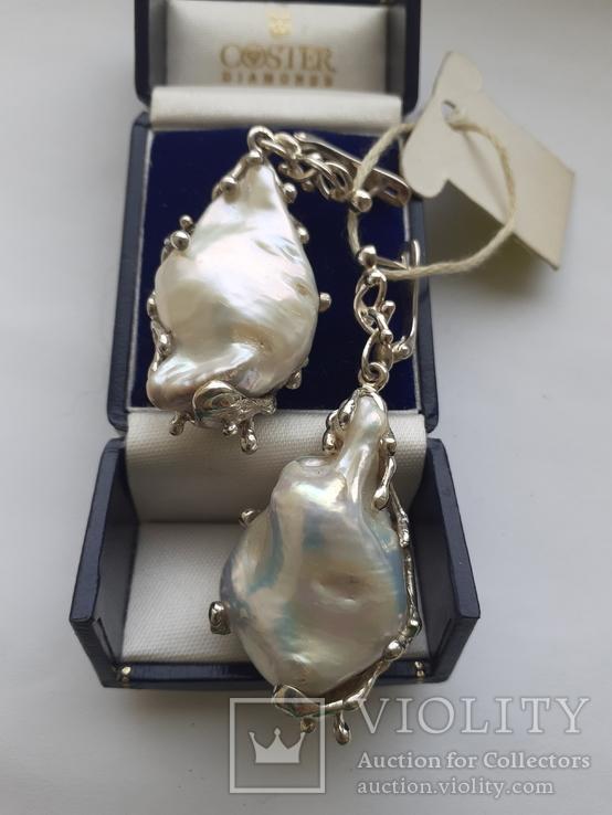 Серебряные серьги с крупным жемчугом барокко, фото №5