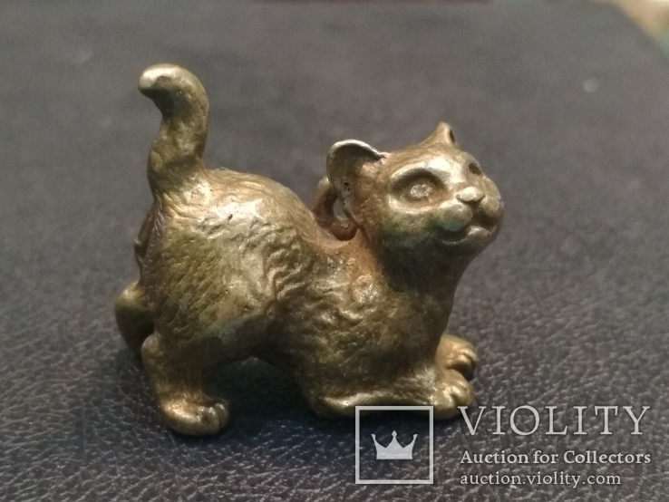 Котенок милый коллекционная миниатюра бронза брелок, фото №2