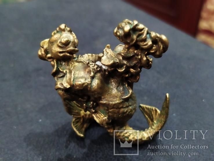 Рыбная Оргия бронза большая коллекционная миниатюра, фото №7