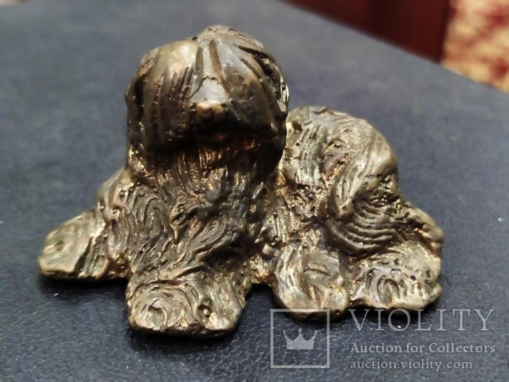Собака Бобтейл бронза большая коллекционная миниатюра, фото №6