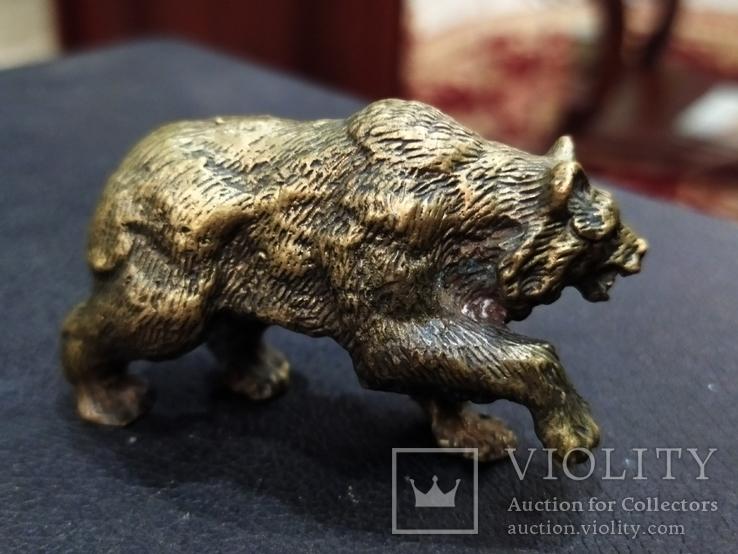 Медведь большой роскошный бронза коллекционная миниатюра