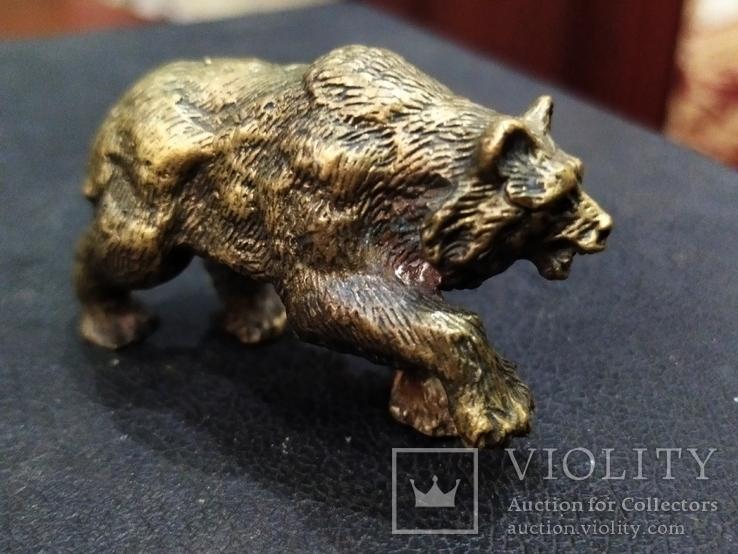Медведь большой роскошный бронза коллекционная миниатюра, фото №3