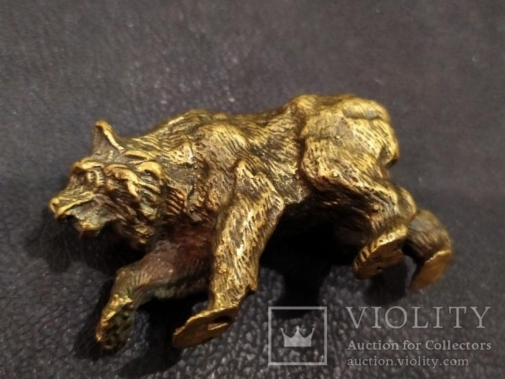 Медведь большой роскошный бронза коллекционная миниатюра, фото №5