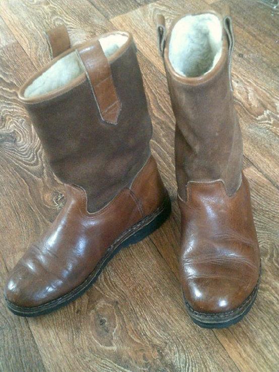 Marcom (Италия) кожаные сапоги на меху разм.40.5