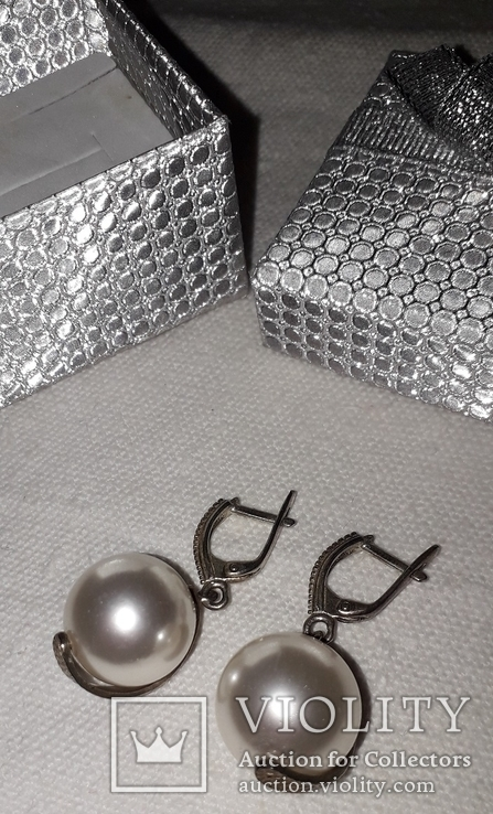 Серьги серебро жемчуг-майорка крупный, фото №4