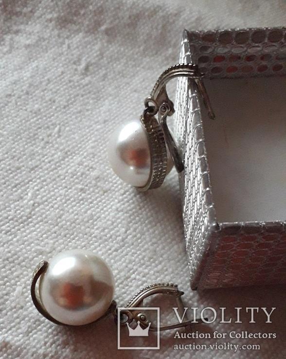 Серьги серебро жемчуг-майорка крупный, фото №5