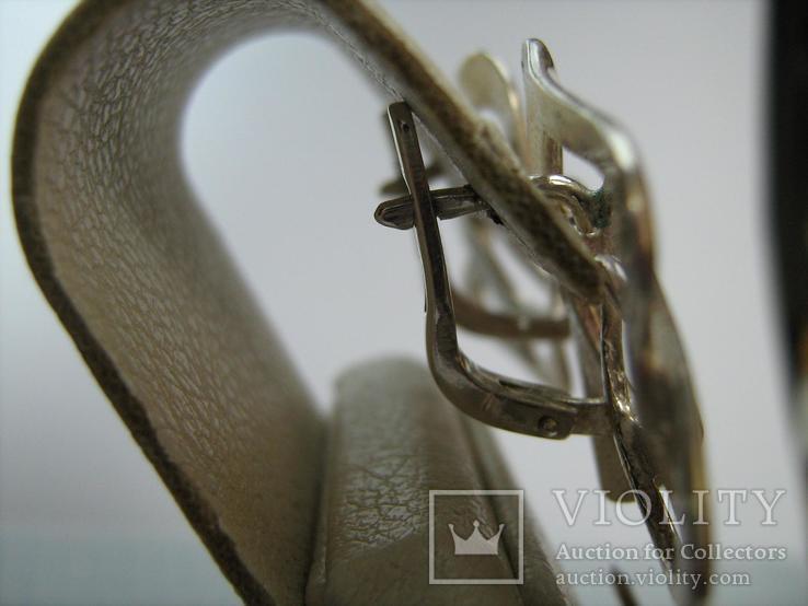 Серебряные Серьги Сережки Розы Цветы Английская Застежка Замок 925 проба Серебро 063, фото №3