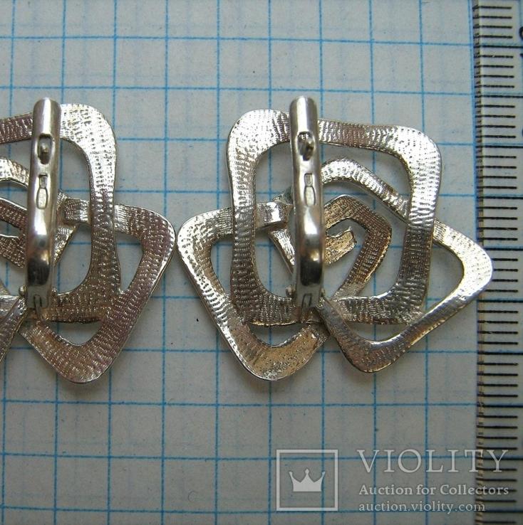 Серебряные Серьги Сережки Розы Цветы Английская Застежка Замок 925 проба Серебро 063, фото №4