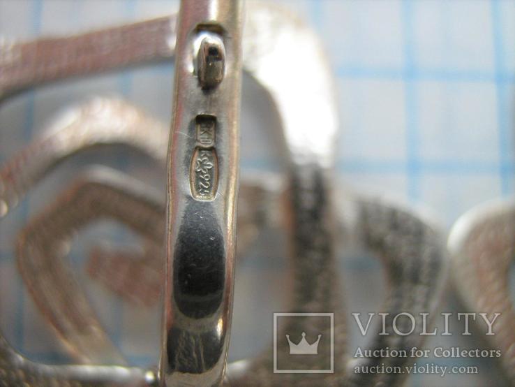 Серебряные Серьги Сережки Розы Цветы Английская Застежка Замок 925 проба Серебро 063, фото №5