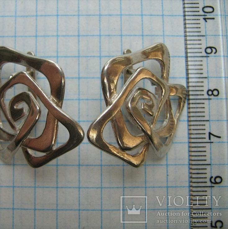 Серебряные Серьги Сережки Розы Цветы Английская Застежка Замок 925 проба Серебро 063, фото №6