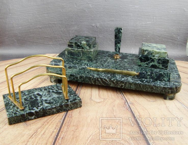 Антикварный набор для письменного стола, мрамор, бронза, фото №2