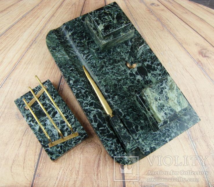 Антикварный набор для письменного стола, мрамор, бронза, фото №4