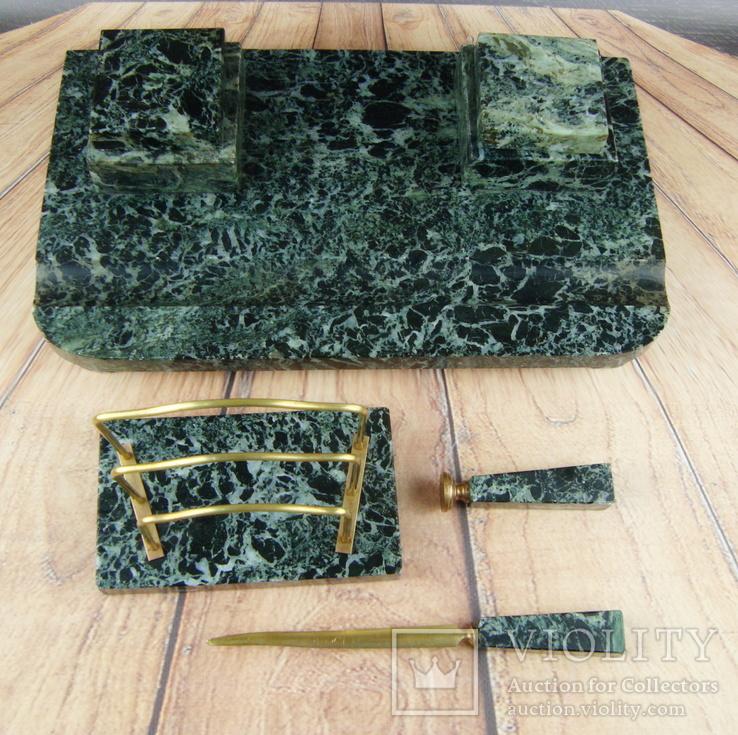 Антикварный набор для письменного стола, мрамор, бронза, фото №5