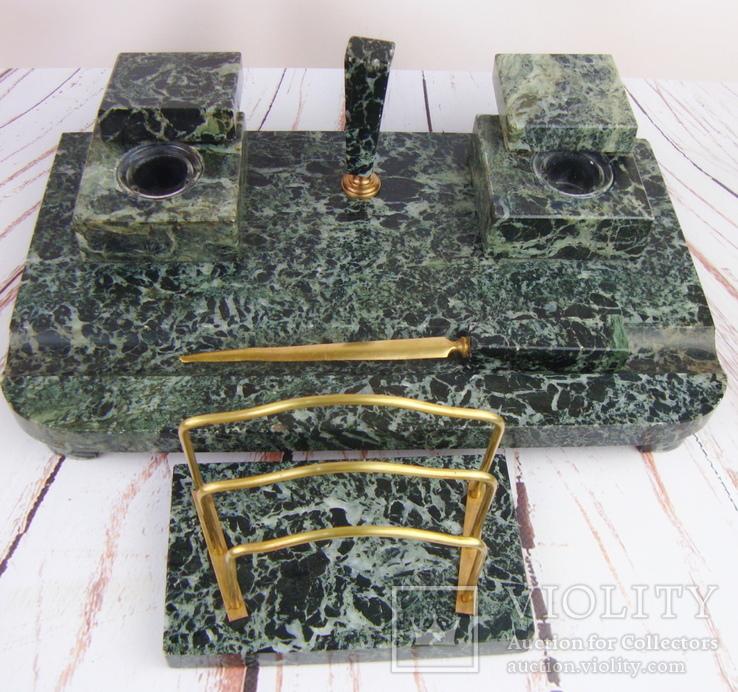 Антикварный набор для письменного стола, мрамор, бронза, фото №12