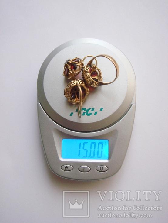 Золотые серьги и кольцо (гарнитур) с гранатами. 750., фото №13