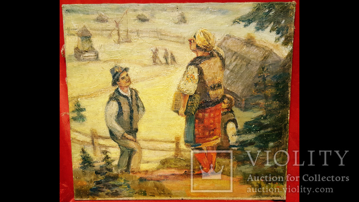 """""""Розмова"""",Цыганкова Е.И.,1965 г.44,5×40,5 см., фото №2"""