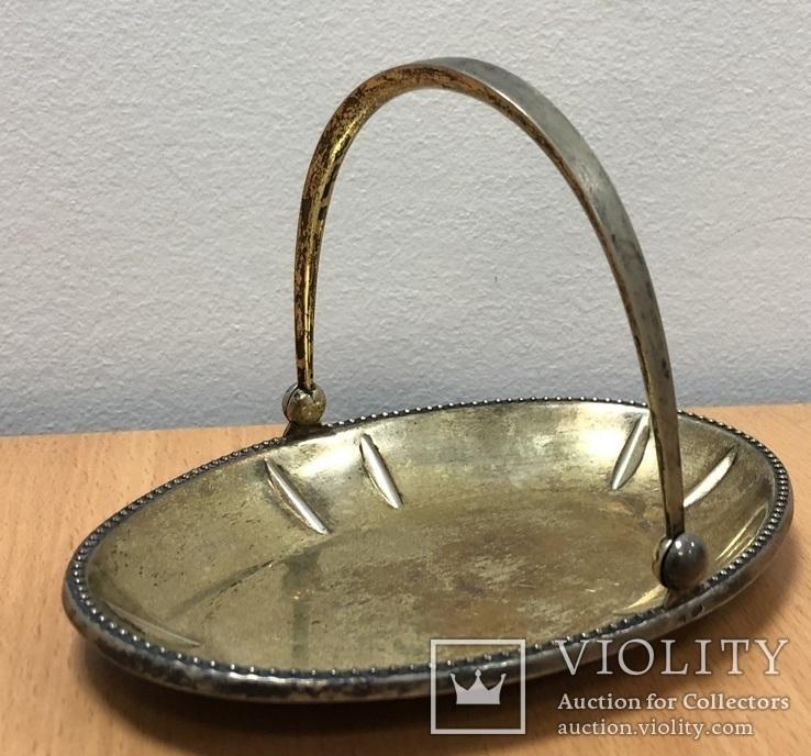 Серебряная конфетница 875 пробы с позолотой, фото №5