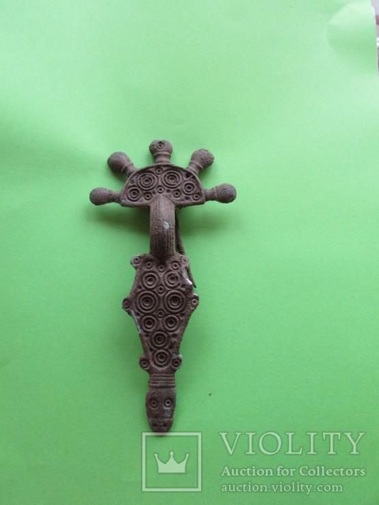Зооморфная пятипалая фибула Пеньковской Культуры с родной иглой, фото №8