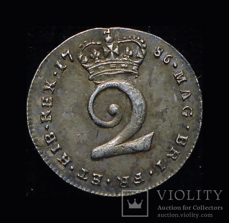 Великобритания 2 пенса 1786 Unc серебро маунди