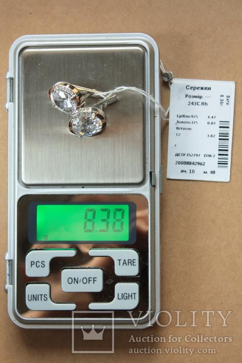 Серьги серебро, золото, фото №7
