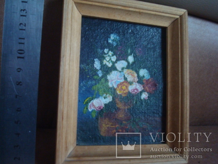 "Натюрморт ""Розы"",картон,масло,13,5/10см., фото №3"