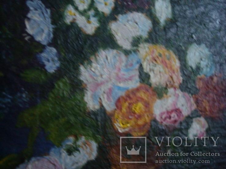"Натюрморт ""Розы"",картон,масло,13,5/10см., фото №5"