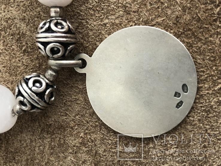 Бусы с кварца и серебра с подвеской Рыбы ( серебро 925 и 800 пр, вес 125 гр), фото №5