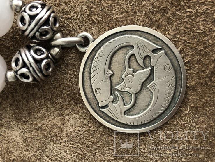 Бусы с кварца и серебра с подвеской Рыбы ( серебро 925 и 800 пр, вес 125 гр), фото №6