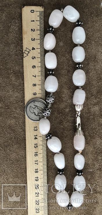 Бусы с кварца и серебра с подвеской Рыбы ( серебро 925 и 800 пр, вес 125 гр), фото №7