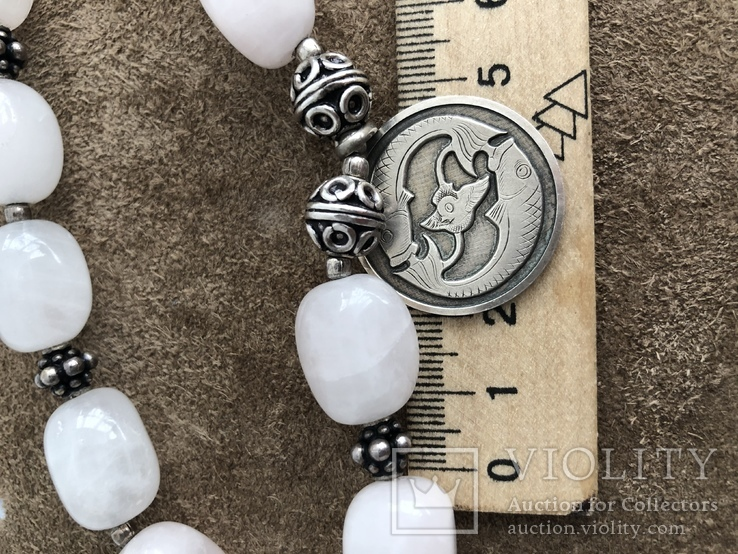 Бусы с кварца и серебра с подвеской Рыбы ( серебро 925 и 800 пр, вес 125 гр), фото №9