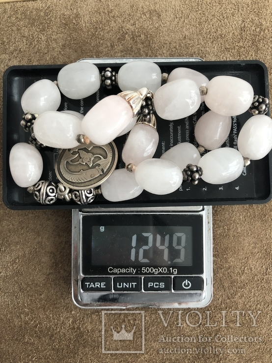 Бусы с кварца и серебра с подвеской Рыбы ( серебро 925 и 800 пр, вес 125 гр), фото №10
