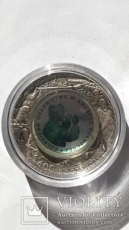 10 злотых 2008 года. 400-летие Польского поселения в Северной Америке. Серебро., фото №3