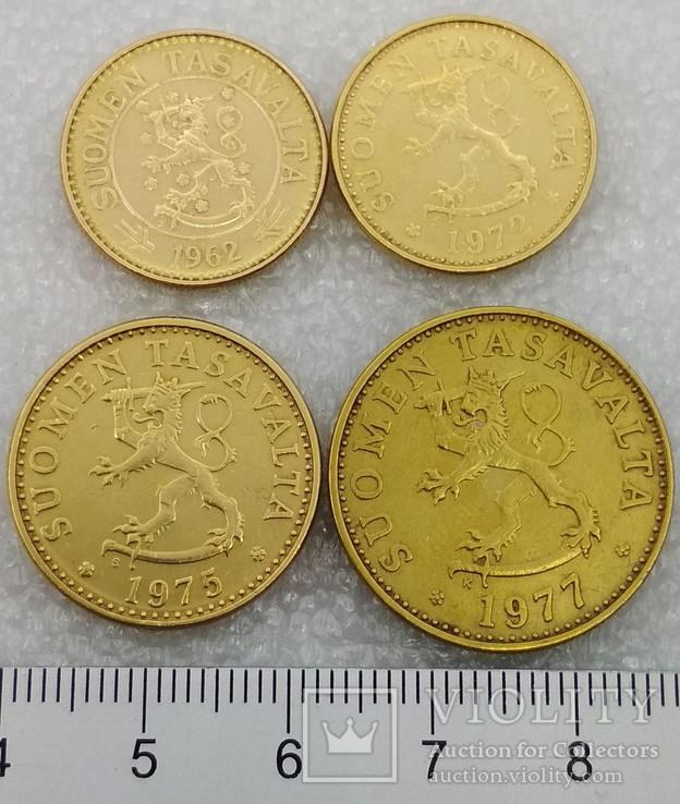 Монеты Финляндии 10 пенни, 20 пенни, 50 пенни, 10 марок, фото №3