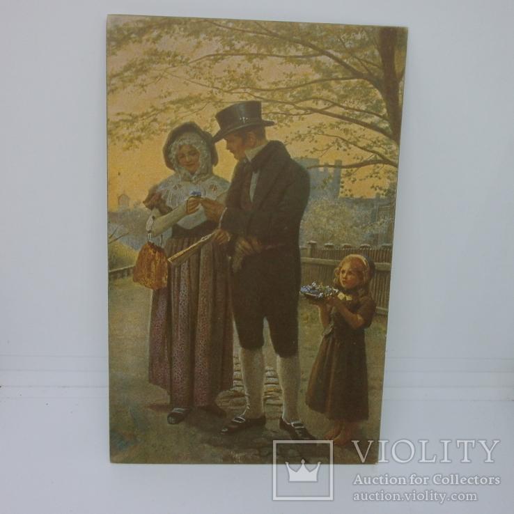 Открытка Свидание девушки и молодого человека. Дарит фиалки, фото №2