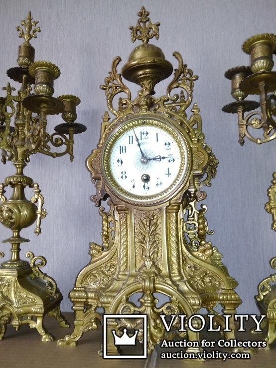 Большие, старые каминные часы. (Франция), фото №3
