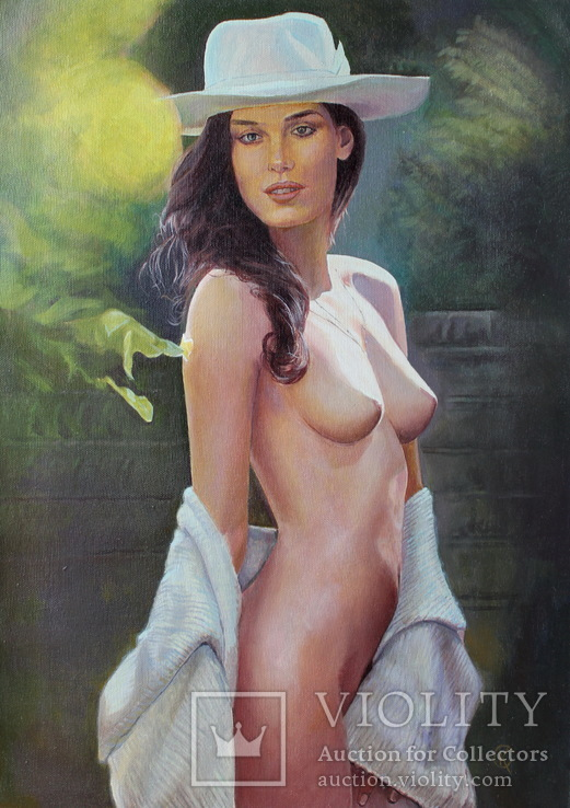Девушка в шляпе 50*70см холст масло, фото №2