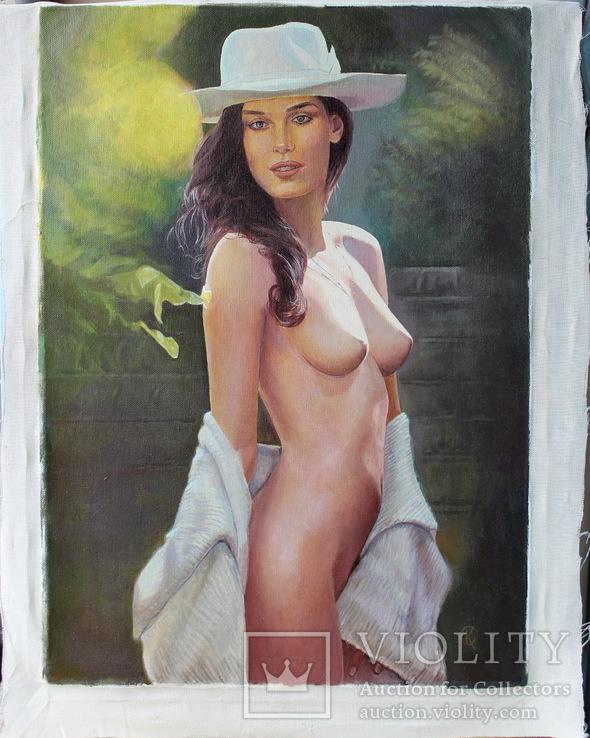 Девушка в шляпе 50*70см холст масло, фото №3