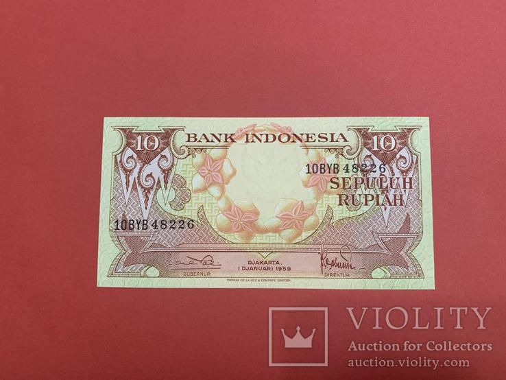 Индонезия 10 рупий 1959 UNC/ Indonesia 1959 10 Rupiah, фото №2