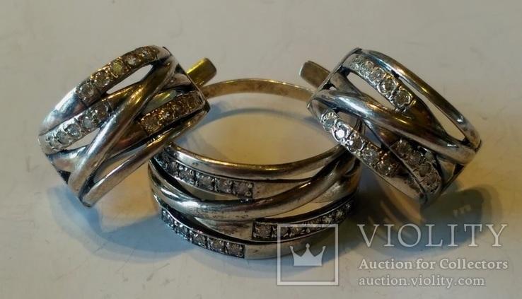 Гарнитур 6 кольцо и серьги серебро, фото №2