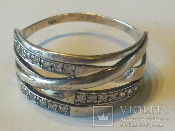 Гарнитур 6 кольцо и серьги серебро, фото №3