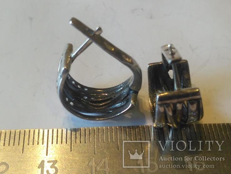 Гарнитур 6 кольцо и серьги серебро, фото №9