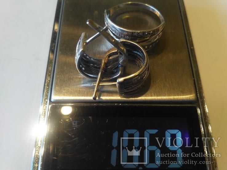 Гарнитур 6 кольцо и серьги серебро, фото №13