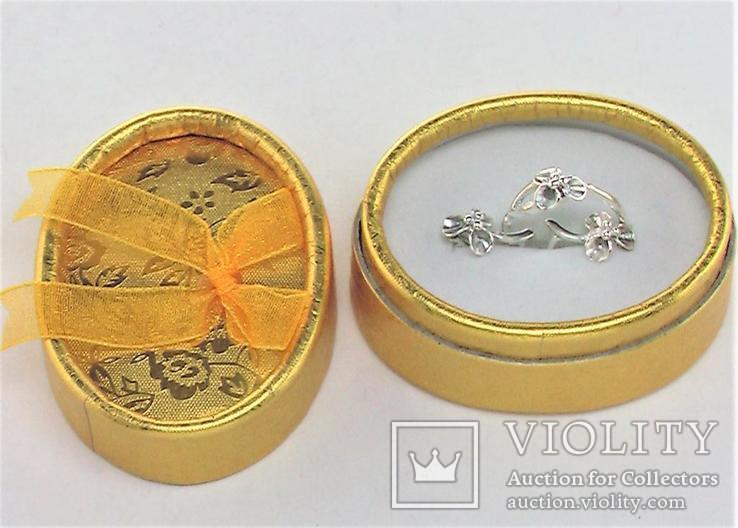 Набор кольцо перстень размер 17 серьги серебро СССР 875 проба 4,33 грамма, фото №2