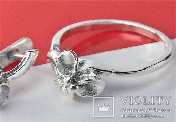 Набор кольцо перстень размер 17 серьги серебро СССР 875 проба 4,33 грамма, фото №4