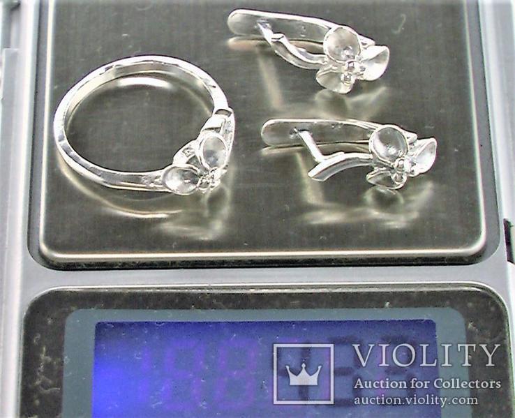 Набор кольцо перстень размер 17 серьги серебро СССР 875 проба 4,33 грамма, фото №7